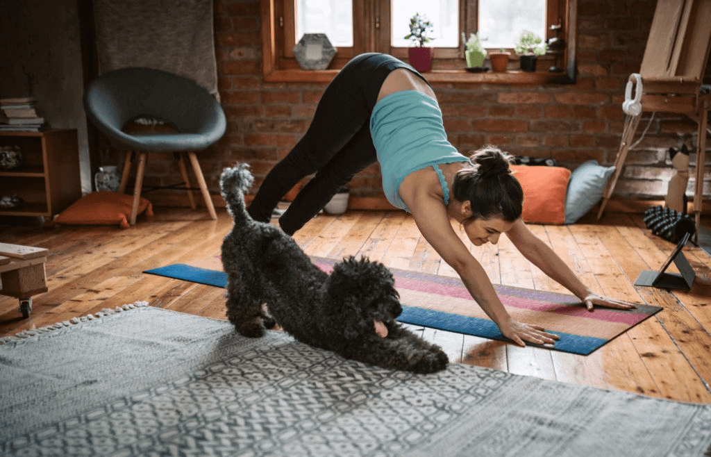 Girl Doing Yoga With Dog